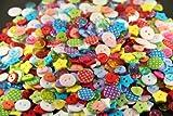 Knöpfe für Kinder Kinderknöpfe Knopf Scrapbooking Mischung aus 100 Knöpfen Herzen Sterne rund 2-farbig gepunktet rund klein durchsichtig.