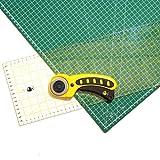 OfficeTree Set Schneidematte A1 90x60 cm + Rollschneider + Lineal 60x16 cm - selbstheilende Schneideunterlage - für professionelle Schnittarbeiten (Grün)