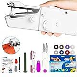 Xpassion tragbare Handnähmaschine, Mini Handheld Nähmaschine 15 pcs Tragbar Elektrische Handnähmaschine Schneller Handlicher Stich für Stoff Kleidung Kindertuch