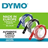 Dymo-Prägeetiketten (selbstklebend, 9 mm x 3 m) 3er Pack blau/schwarz/rot