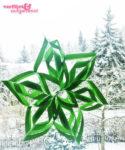 Grüne Schneeflocke im Winter