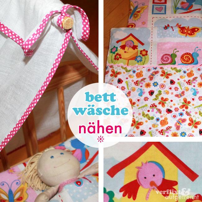 Bettwasche Und Himmel Fur Ein Puppenbett Verflixt Und Aufgetrennt