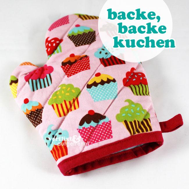 backhandschuh aus törtchen-stoff für die kinderküche - verflixt