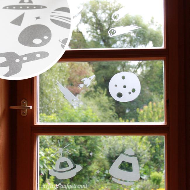 Weltall Fensterbilder Milchglasfolie